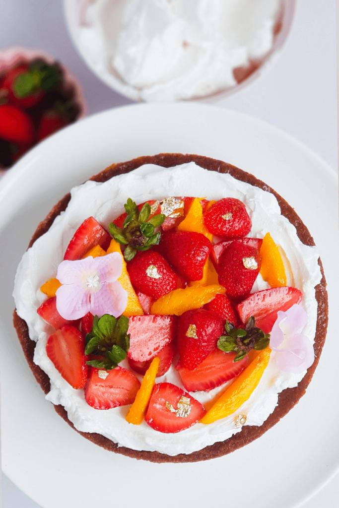 gluten-free strawberry and mango cake